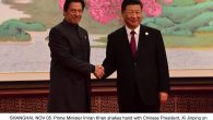SHANGHAI, NOV 05: Prime Minister Imran Khan shakes hand with Chinese President, Xi Jinping on the eve of opening ceremony China International Import Expo in Shanghai.=DNA PHOTO