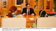 ISLAMABAD, NOV 29: Chairman NAB Justice (retd) Javed Iqbal listening to public complaints at NAB Headquarters.=DNA PHOTO