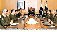 RAWALPINDI: General Qamar Javed Bajwa, Chief of Army Staff (COAS) presiding the 217th Corps Commanders' Conference held at GHQ.. INP PHOTO