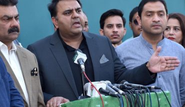 KARACH: Federal Minister for Information & Broadcasting Chaudhry Fawad Hussain talking to media Persons at Insaf House in Karachi. INP PHOTO