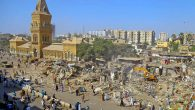 KARACHI: A view of massive anti-encroachment operation at Empress Market in Saddar area by the Karachi Metropolitan Corporation (KMC). INP PHOTO by S.Akbar