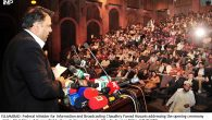 ISLAMABAD: Federal Minister for Information and Broadcasting Chaudhry Fawad Hussain addressing the opening ceremony of the 4th Edition of Human Rights through Cinematography Film Festival at PNCA. INP PHOTO